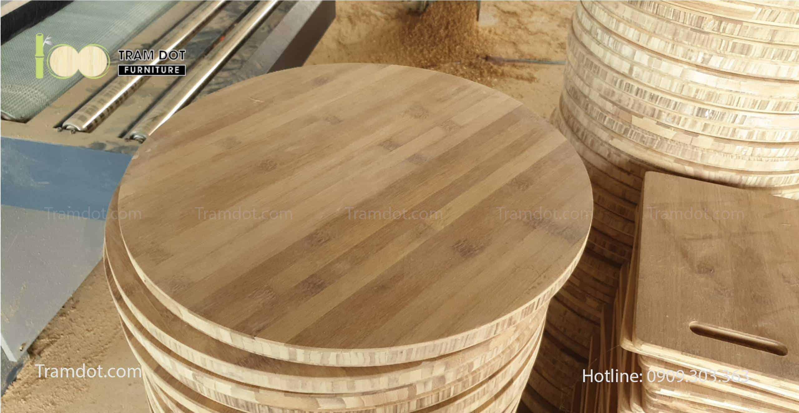 Sản xuất mặt bàn tre ép làm bàn cafe cho chuỗi Cafe Highland | TRAMDOT Furniture