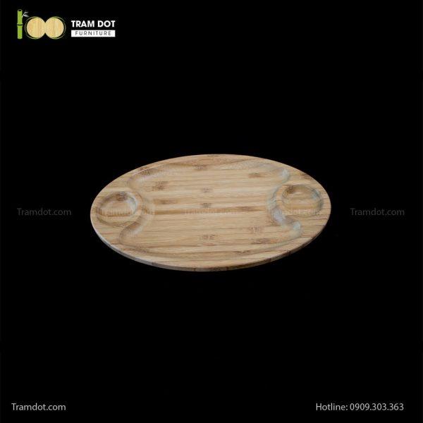 Đĩa tre elip 3 phần 35.5×20.5cm (HỘP 30 CÁI) | TRAMDOT Furniture