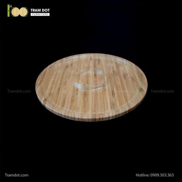 Đĩa tre tròn 2 phần đồng tâm 35.5×35.5cm | TRAMDOT Furniture