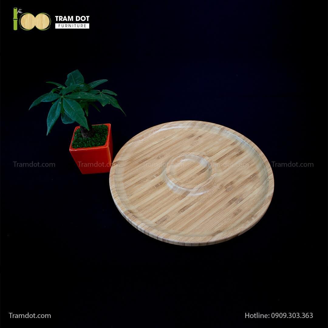 Đĩa tre tròn 2 phần đồng tâm 35.5x35.5cm   TRAMDOT Furniture