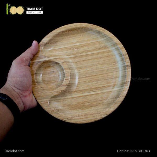 Đĩa tre tròn 2 phần lệch tâm 20.5×20.5cm | TRAMDOT Furniture