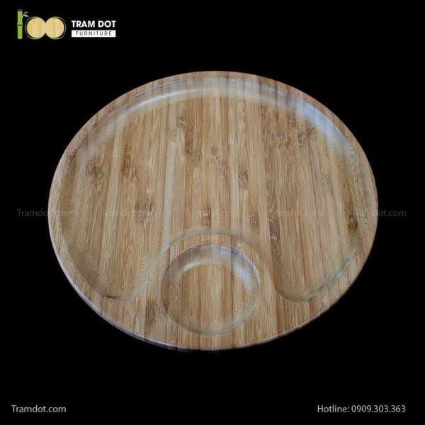 Đĩa tre tròn 2 phần lệch tâm 30.5×30.5cm | TRAMDOT Furniture