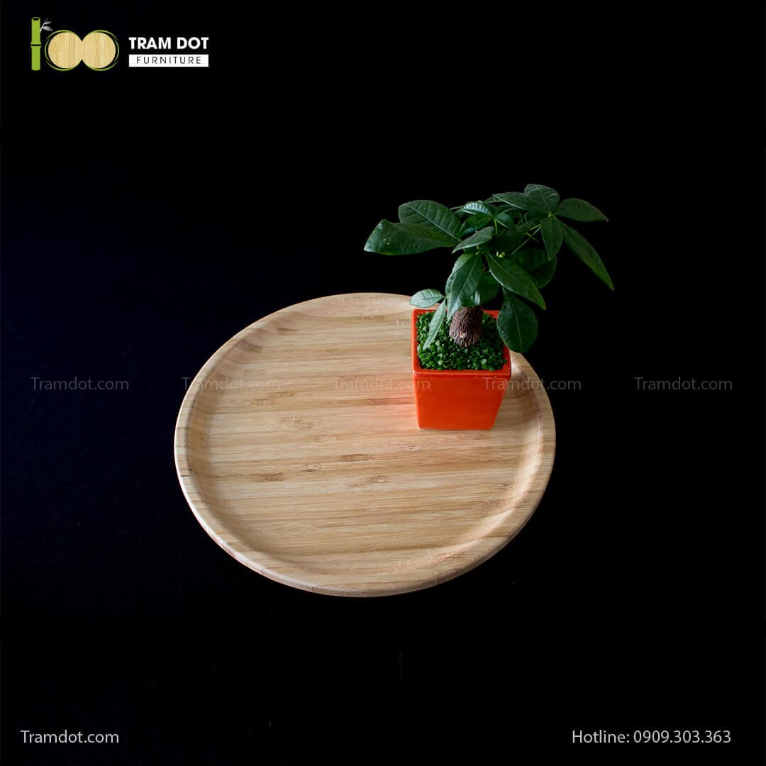 Đĩa tre tròn 35.5×35.5cm (HỘP 30 CÁI) | TRAMDOT Furniture