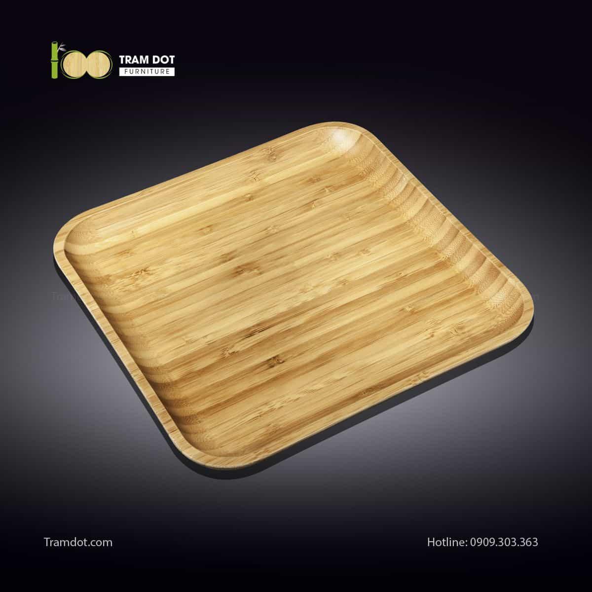 Đĩa tre vuông 35.5×35.5cm (HỘP 30 CÁI)   TRAMDOT Furniture
