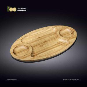 Đĩa tre elip 3 phần 35.5x20.5cm (HỘP 30 CÁI) | TRAMDOT Furniture