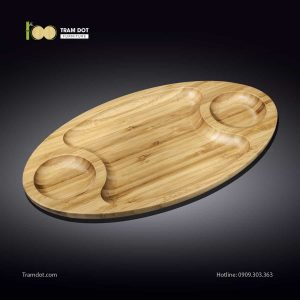 Đĩa tre elip 3 phần 45.5x25cm (HỘP 30 CÁI) | TRAMDOT Furniture