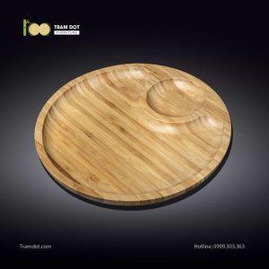 Đĩa tre tròn 2 phần lệch tâm 20.5x20.5cm | TRAMDOT Furniture