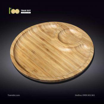 Đĩa tre tròn 2 phần lệch tâm 30.5x30.5cm | TRAMDOT Furniture