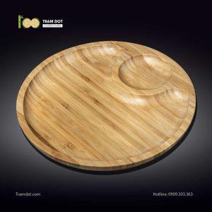Đĩa tre tròn 2 phần lệch tâm 35.5x35.5cm | TRAMDOT Furniture