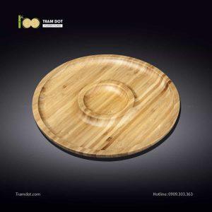 Đĩa tre tròn 2 phần đồng tâm 20.5x20.5cm | TRAMDOT Furniture