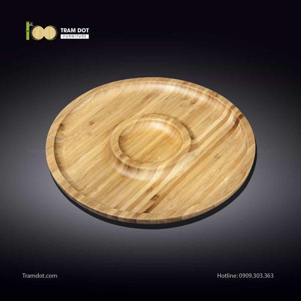 Đĩa tre tròn 2 phần đồng tâm 20.5×20.5cm | TRAMDOT Furniture
