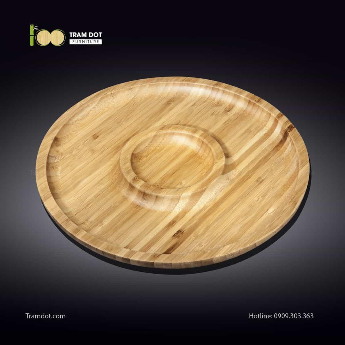 Đĩa tre tròn 2 phần đồng tâm 30.5x30.5cm | TRAMDOT Furniture