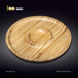 Đĩa tre tròn 2 phần đồng tâm 35.5x35.5cm | TRAMDOT Furniture