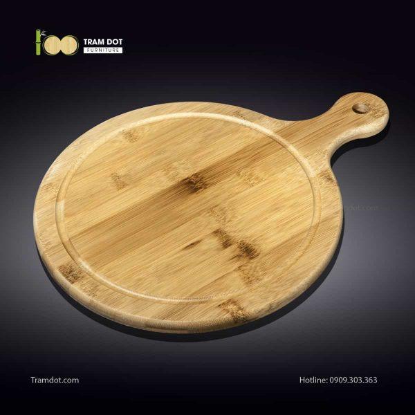 Khay tre phục vụ tròn có tay cầm 30.5×40.5cm (HỘP 30 CÁI) | TRAMDOT Furniture