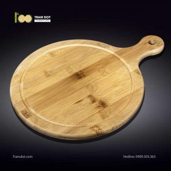 Khay tre phục vụ tròn có tay cầm 35.5×46cm (HỘP 30 CÁI) | TRAMDOT Furniture