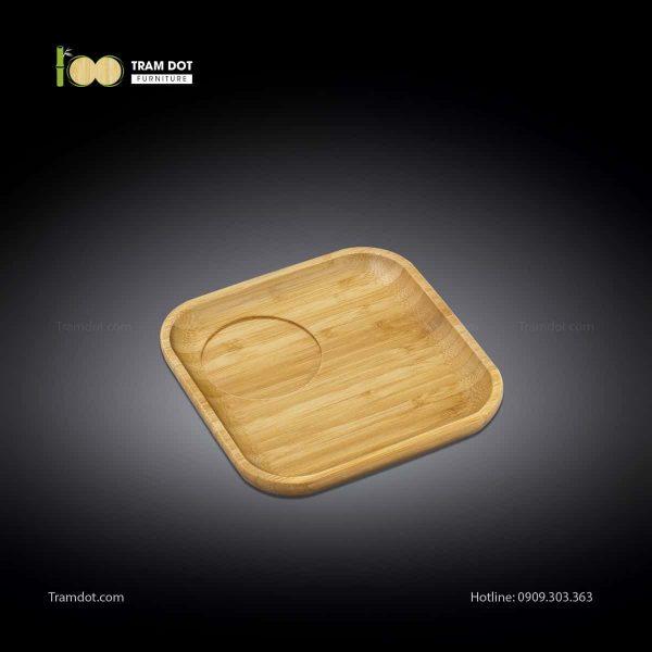 Đĩa tre phục vụ đồ uống vuông 20.5×20.5cm (HỘP 30 CÁI) | TRAMDOT Furniture