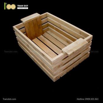 Khay tre đựng lọ gia vị chữ nhật có quai xách | TRAMDOT Furniture