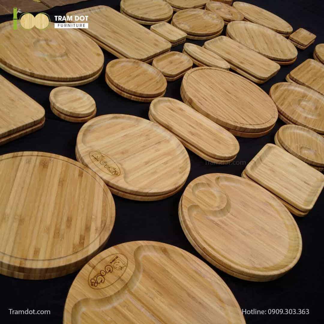 TRAMDOT Furniture gia công khay đĩa tre ép với nhiều kiểu dáng, kích thước cho nhà hàng, khách sạn cao cấp