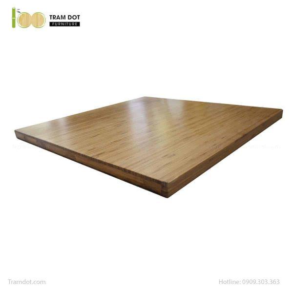 Bàn Cafe chân gang đúc, mặt bàn tre ép vuông 60x60cm, dày 2.5cm | TRAMDOT Furniture