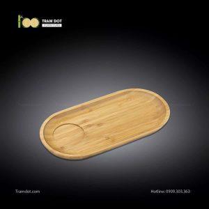 Đĩa tre phục vụ đồ uống oval 01 rãnh lõm 30.5×15cm | TRAMDOT Furniture