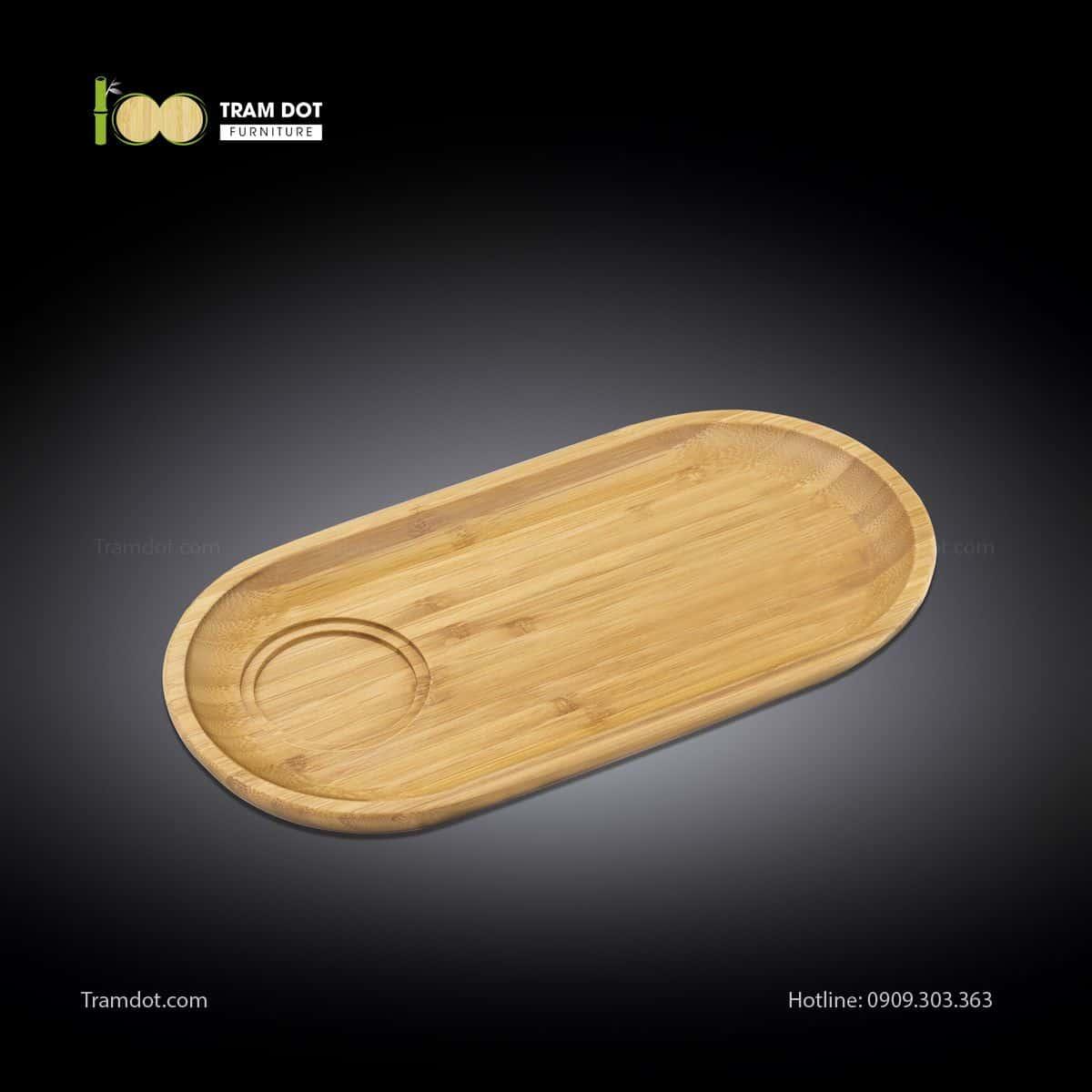 Đĩa tre phục vụ đồ uống oval 01 rãnh lõm 35.5×17cm   TRAMDOT Furniture