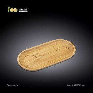 Đĩa tre phục vụ đồ uống oval 02 rãnh lõm 30.5×15cm