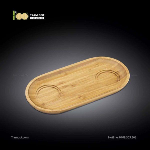 Đĩa tre phục vụ đồ uống oval 02 rãnh lõm 35.5×17.5cm | TRAMDOT Furniture