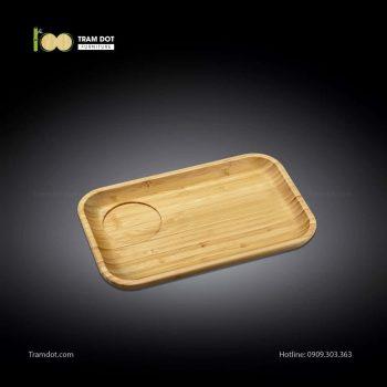 Đĩa tre phục vụ đồ uống chữ nhật 01 rãnh lõm 30.5×20.5 | TRAMDOT Furniture