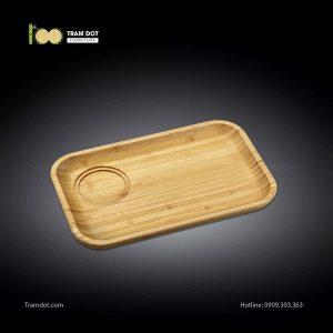 Đĩa tre phục vụ đồ uống chữ nhật 01 rãnh lõm 35.5×24.5cm