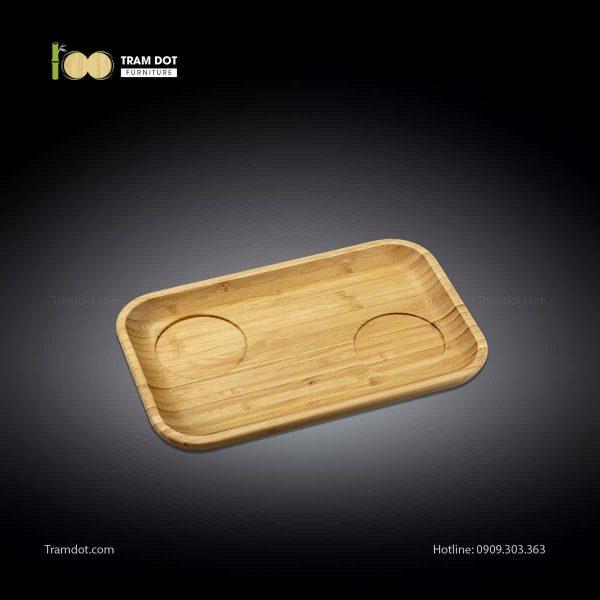 Đĩa tre phục vụ đồ uống chữ nhật 02 rãnh lõm 30.5×20.5 | TRAMDOT Furniture