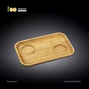 Đĩa tre phục vụ đồ uống chữ nhật 02 rãnh lõm 35.5×24.5cm | TRAMDOT Furniture