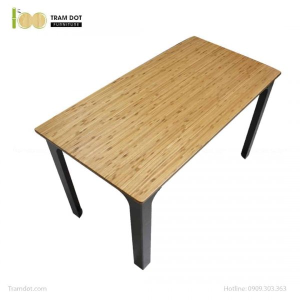 Bàn làm việc chân thép chữ V mặt bàn tre ép | TRAMDOT Furniture