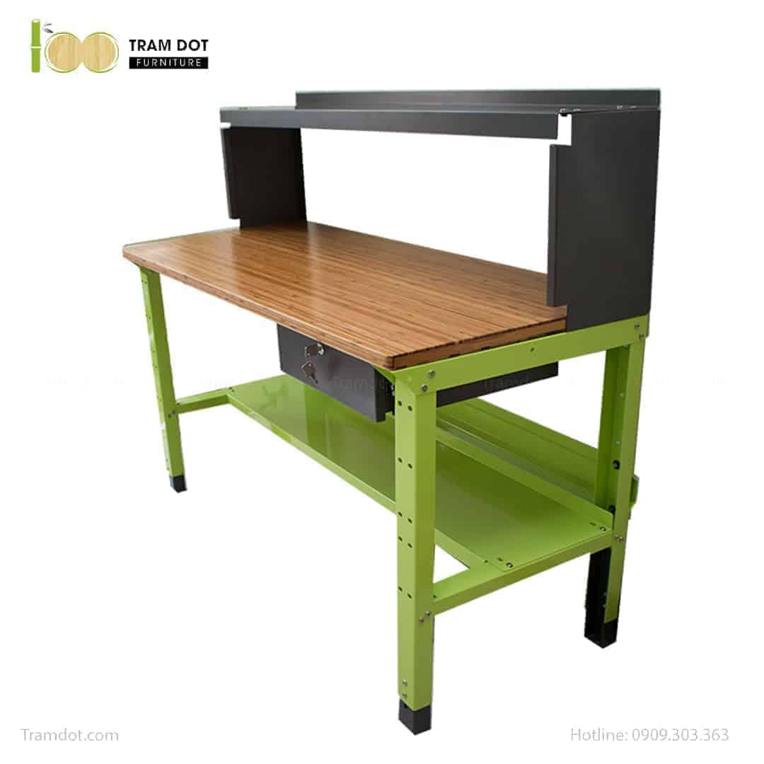 Bàn nguội thao tác cơ khí Workbench PHÒNG LAB mặt bàn tre   TRAMDOT Furniture