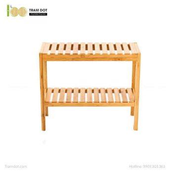 Ghế đôi kết hợp kệ phòng tắm, tre ép, tự lắp ráp | TRAMDOT Furniture