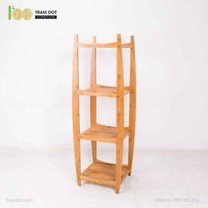 Kệ để khăn tắm 04 tầng chữ H, tre ép, tự lắp ráp | TRAMDOT Furniture