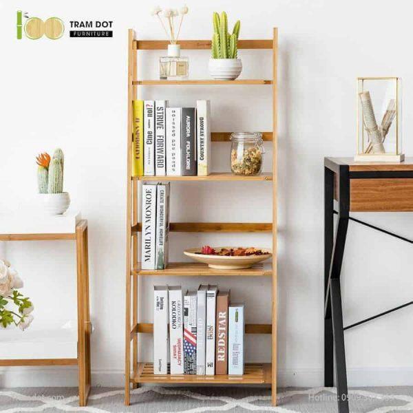 Kệ đa năng 04 tầng bậc thang, tre ép, tự lắp ráp   TRAMDOT Furniture