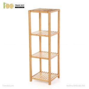 Kệ đa năng 04 tầng hình vuông, tre ép, tự lắp ráp | TRAMDOT Furniture