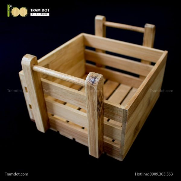 Khay tre đựng lọ gia vị vuông có quai xách | TRAMDOT Furniture