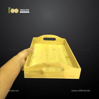 Khay tre đựng bánh chữ nhật 2 tay cầm L30xW15xH10cm TRAMDOT