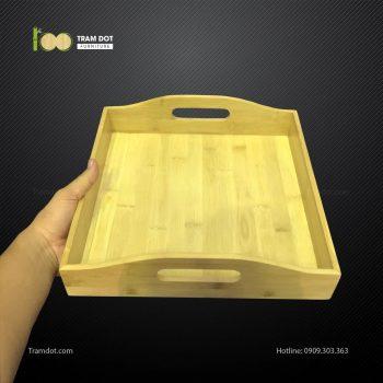 Khay tre đựng bánh hình vuông 2 tay cầm L30xW20xH10cm TRAMDOT
