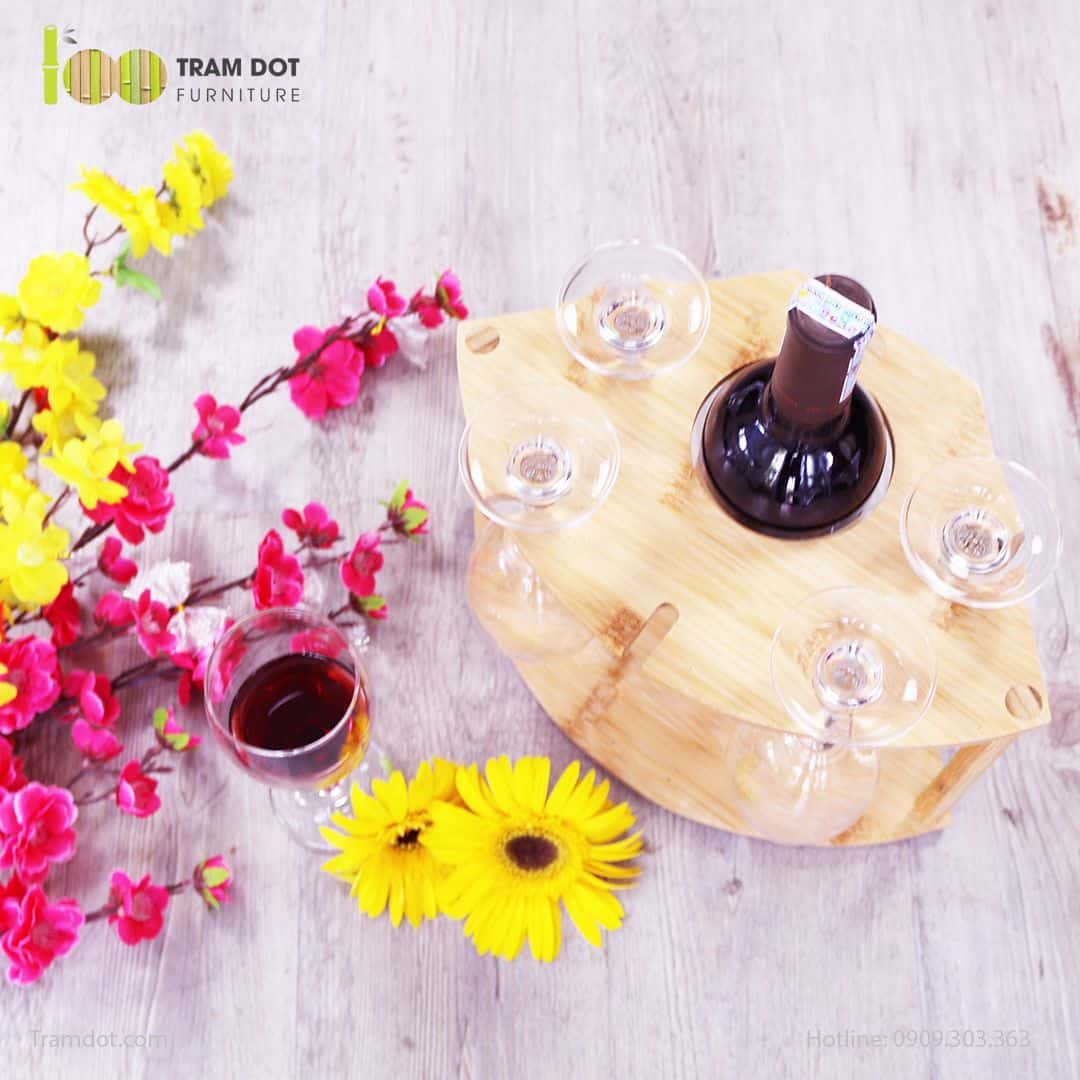 Khay đựng rượu vang bằng tre | TRAMDOT.com