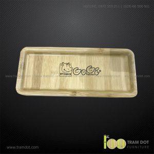 Đĩa tre chữ nhật 12x28cm GOGI   Dịch vụ gia công khay đĩa tre theo yêu cầu Trăm Đốt