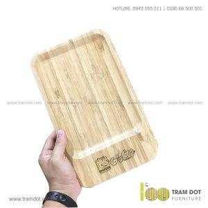 Đĩa tre chữ nhật 18x30cm GOGI | Dịch vụ gia công khay đĩa tre theo yêu cầu Trăm Đốt
