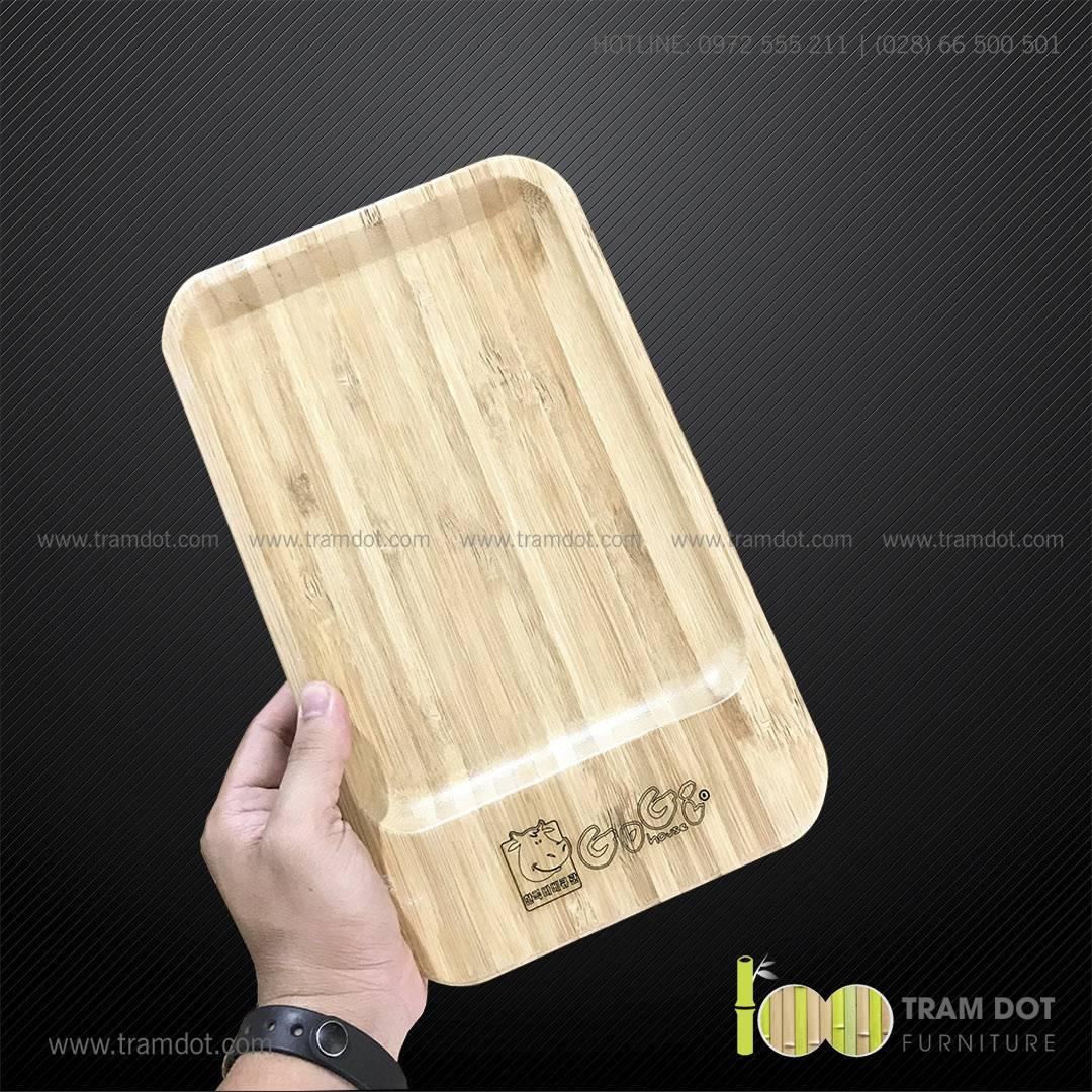 Đĩa tre chữ nhật 18x30cm GOGI   Dịch vụ gia công khay đĩa tre theo yêu cầu Trăm Đốt