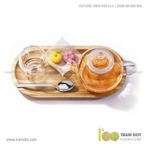 Đĩa tre hình Oval, phục vụ đồ uống TRAMDOT | Dịch vụ gia công khay đĩa tre theo yêu cầu Trăm Đốt