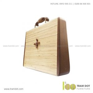 Cặp Laptop tre DINO | Dịch vụ gia công quà tặng tre theo yêu cầu Trăm Đốt