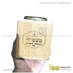Hũ tre đựng mật ong 500ml THẢO MỘC LINH | Dịch vụ gia công khay đĩa tre theo yêu cầu Trăm Đốt