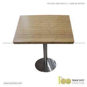 Bàn cafe chân Inox mặt bàn tre ép tự nhiên - Trăm Đốt