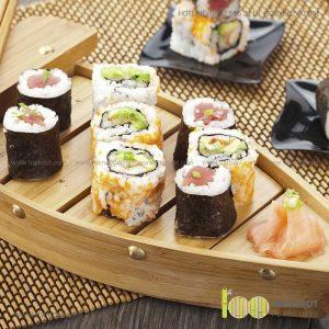 Khay tre đựng Sushi hình cây cầu xưa SAGE | Dịch vụ gia công khay tre đựng sushi Trăm Đốt