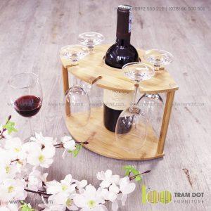 Khay tre đựng rượu vang TROY | Dịch vụ gia công quà tre tặng Tết Trăm Đốt